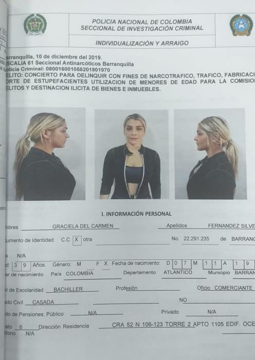 La ficha de captura de Graciela del Carmen Fernández Silvera.