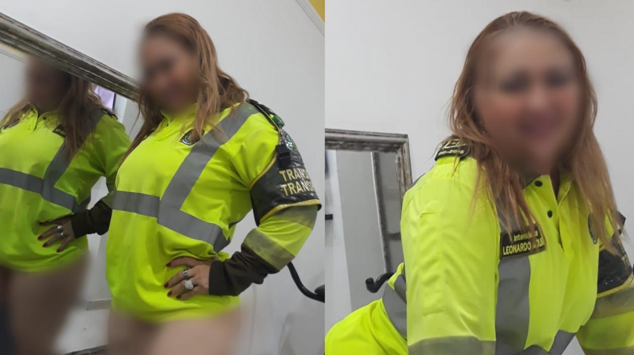 Dos de las imágenes de la mujer con el chaleco del policía de la Mebar.