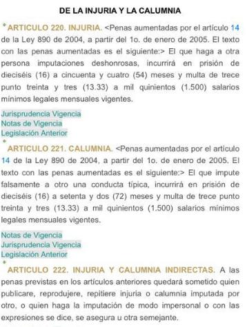Los artículos del Código penal (Ley 599 del 2000).