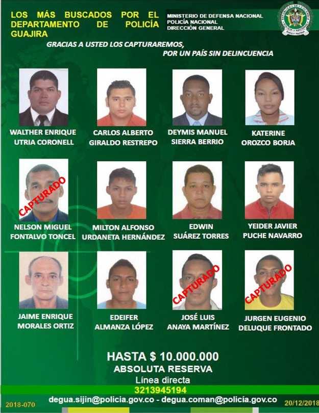 Cartel de los 12 más buscados en La Guajira