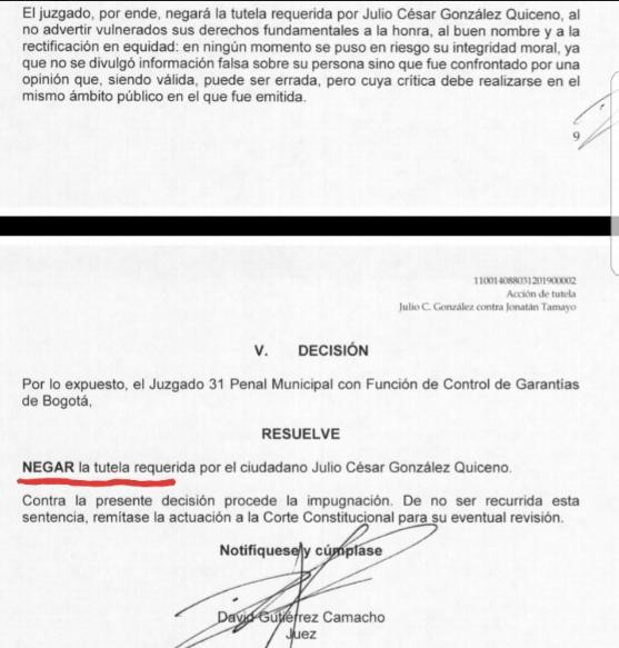 Juez niega tutela interpuesta por Matador al senador 'Manguito'