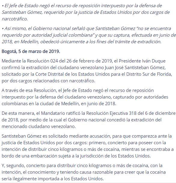 Confirman extradición de ciudadano venezolano