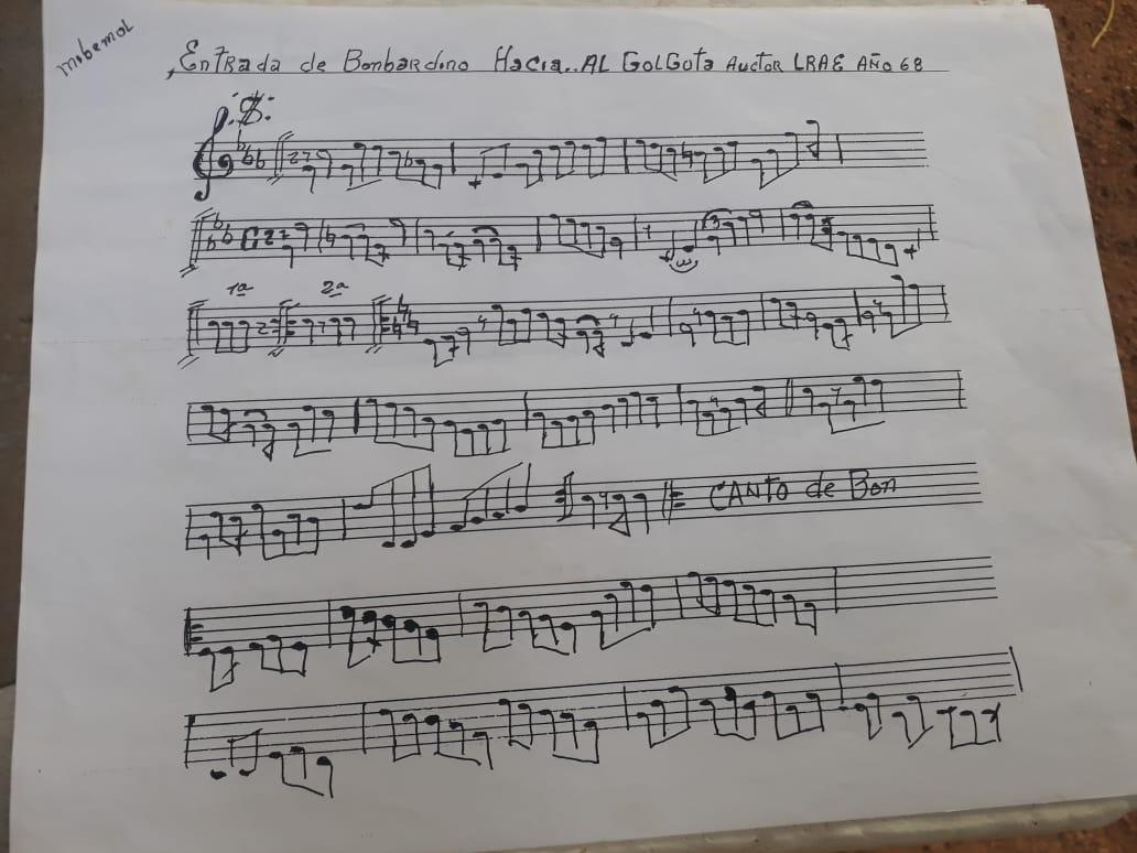 Una de las partituras de Luis Rafael Ávila, 'Chito', quien compuso la mayoría de las marchas que acompañan las procesiones de Guamal.