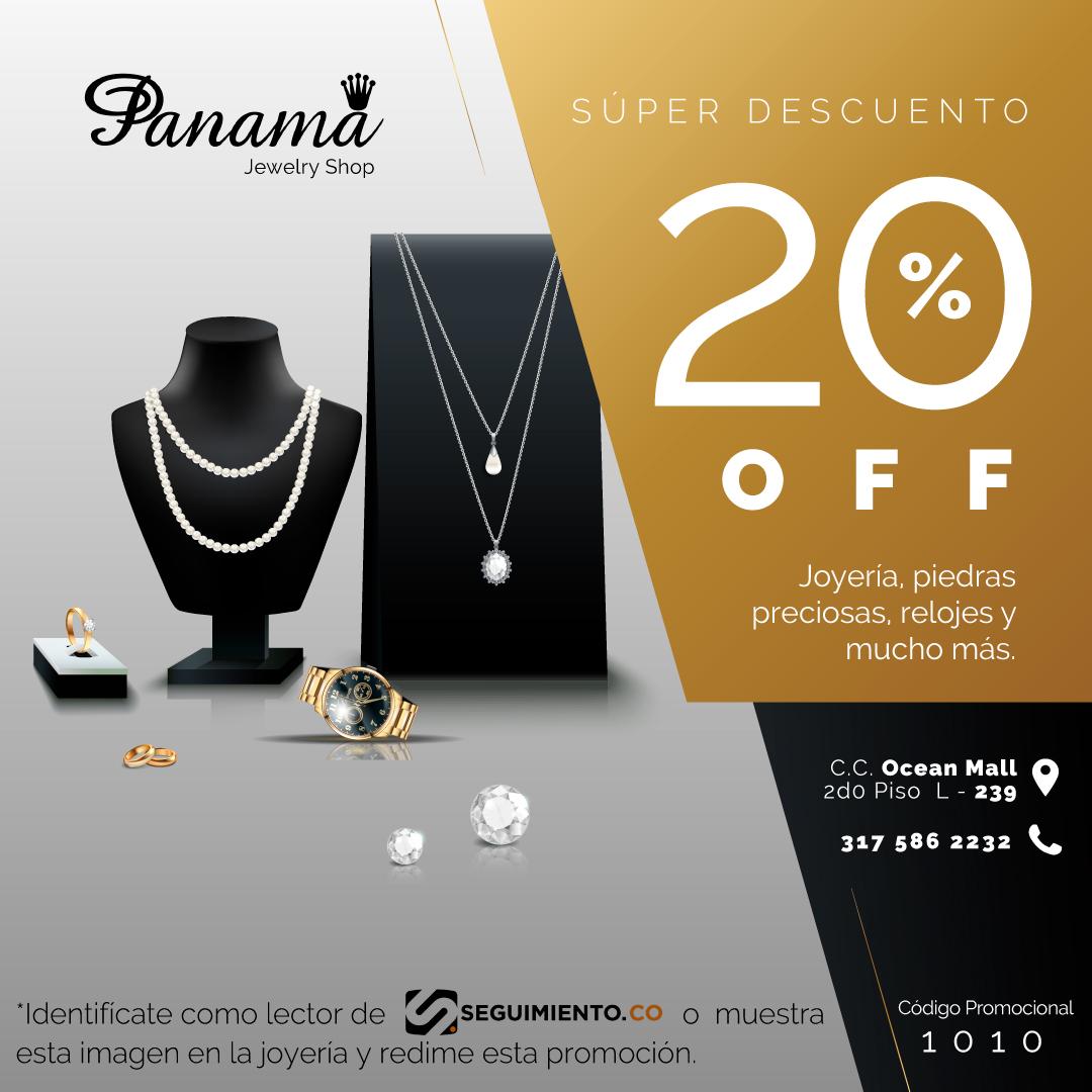 Presenta esta imagen en la Joyería Panamá para obtener 20% de descuento en tu compra.