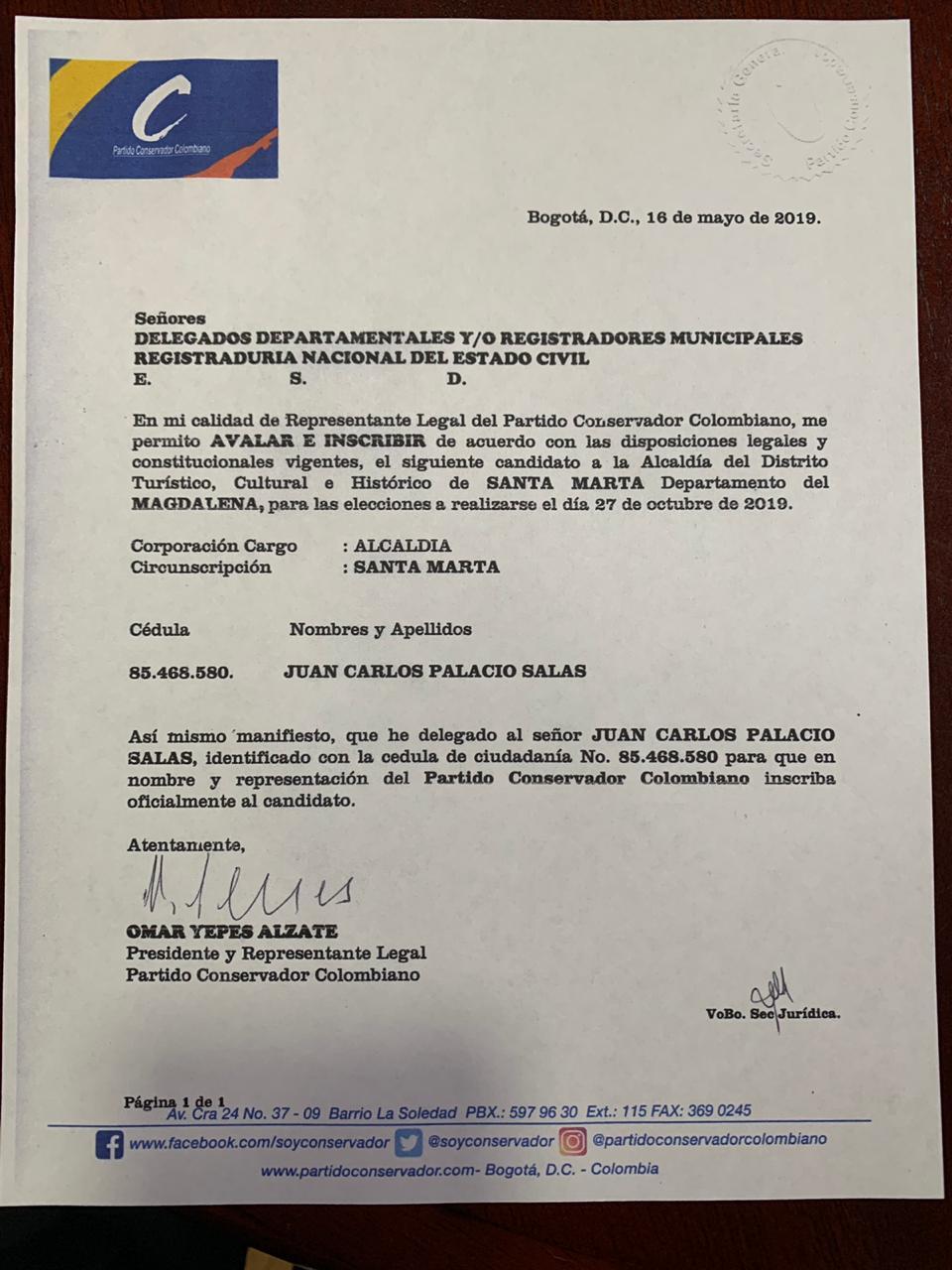 Aval de Juan Carlos Palacio