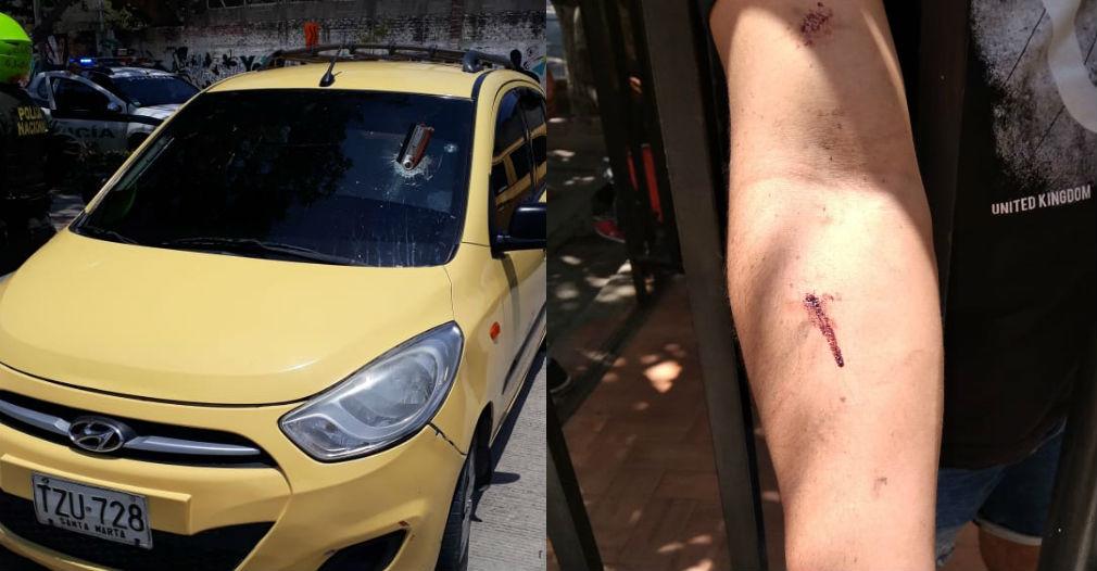 El vehículo y el conductor fueron atacados por los limpiadores de vidrios.