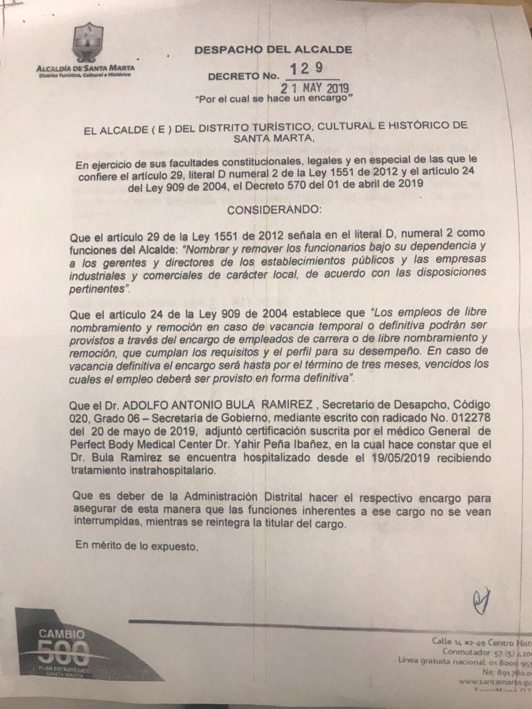 Decreto expedido por el alcalde de Santa Marta, Andrés Rugeles.