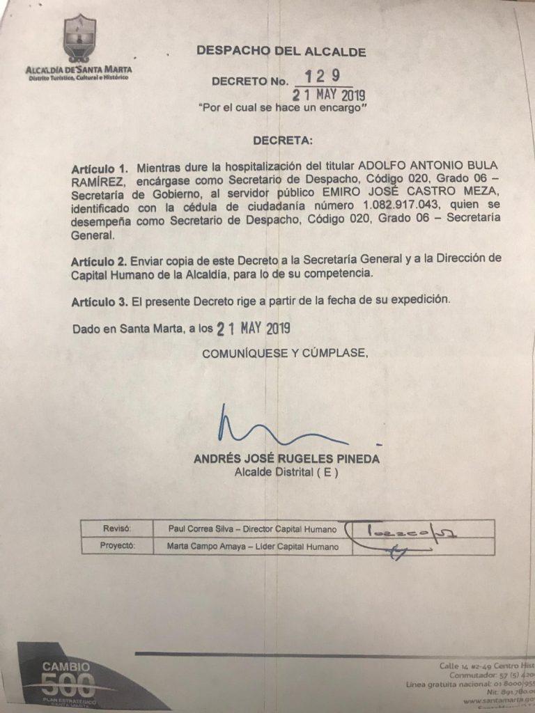 Decreto expedido por el alcalde Andrés Rugeles.
