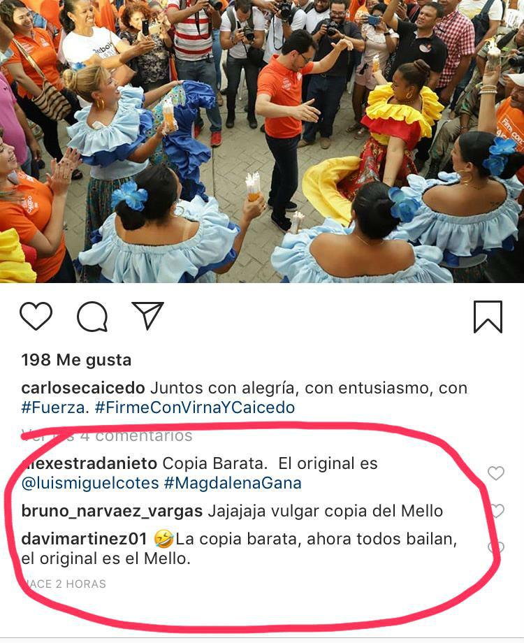 Comentarios que recibió Caicedo en redes sociales.
