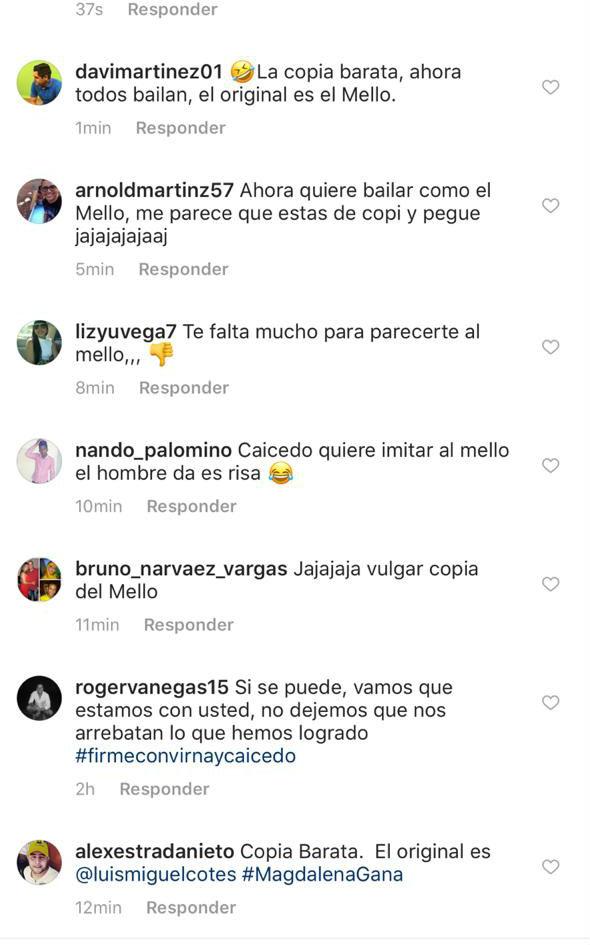 Comentarios recibidos por Caicedo antes de que eliminara su post en Instagram.
