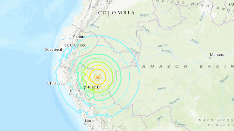 Este es el punto del epicentro del terremoto.