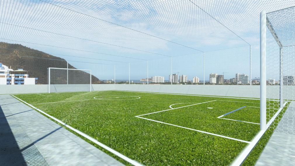 Cancha de fútbol 5 contemplada en el proyecto.