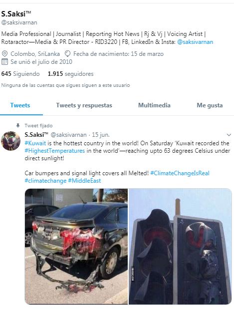 Captura del Twitter del periodista que difundió la noticia falsa
