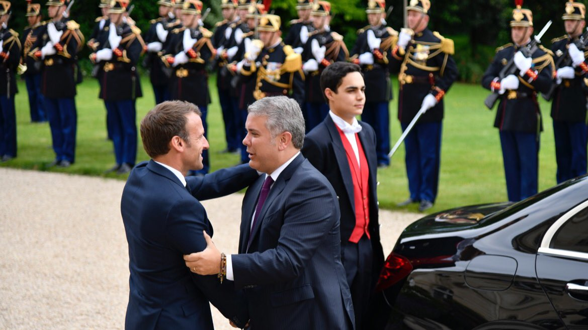 Presidente de Colombia, Iván Duque, y presidente de Francia, Emmanuel Macron