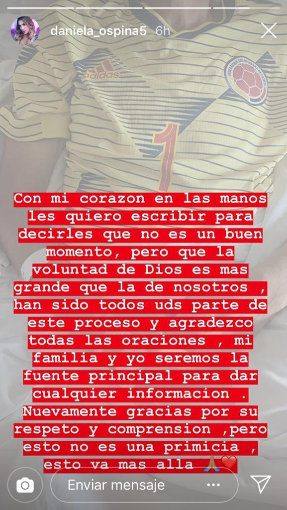 Este fue el agradecimiento de Daniela Ospina en su cuenta de Instagram.