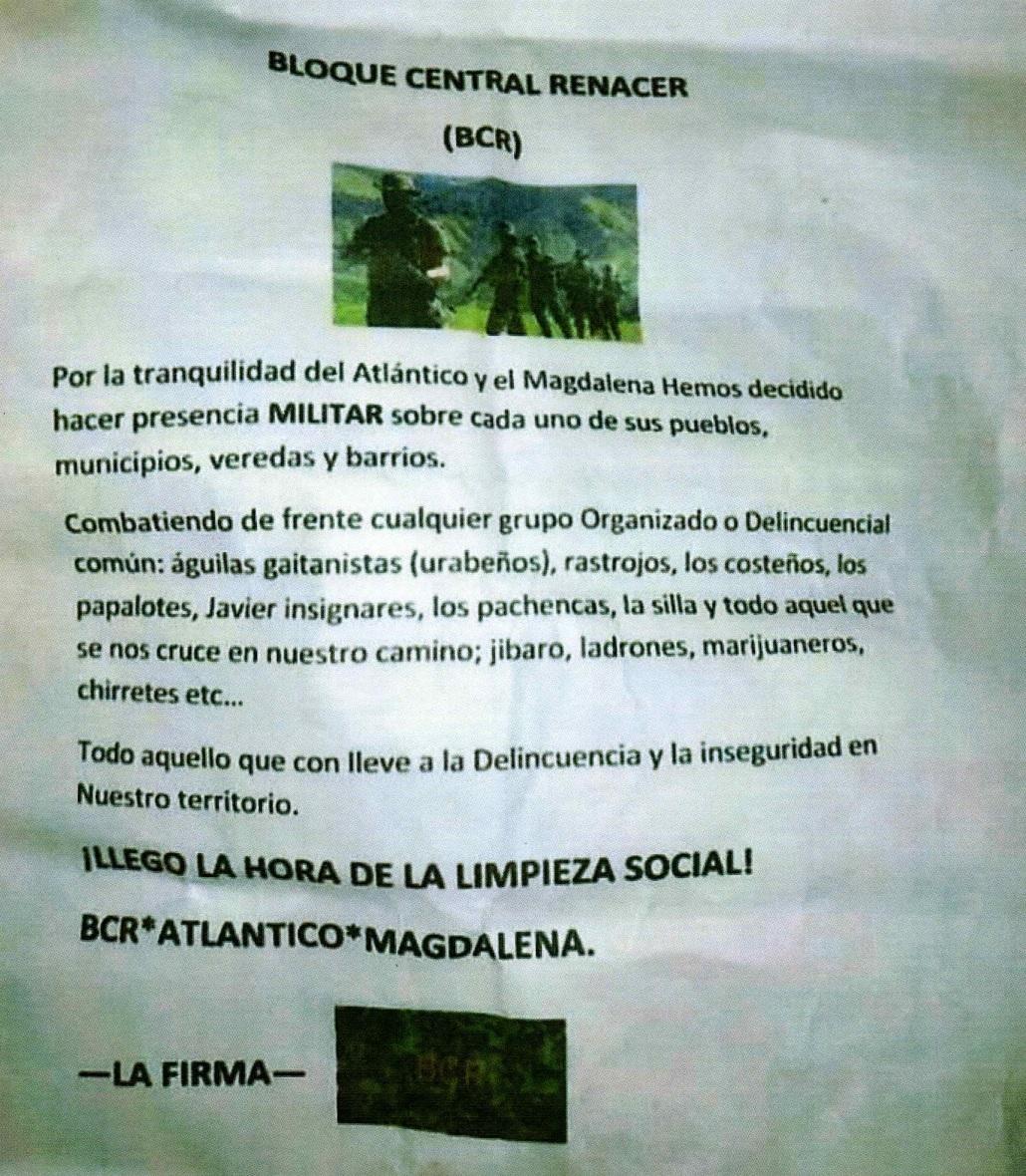 Este es el panfleto que circuló en marzo, en el que amenazan a los Pachencas, la Silla y otras organizaciones.