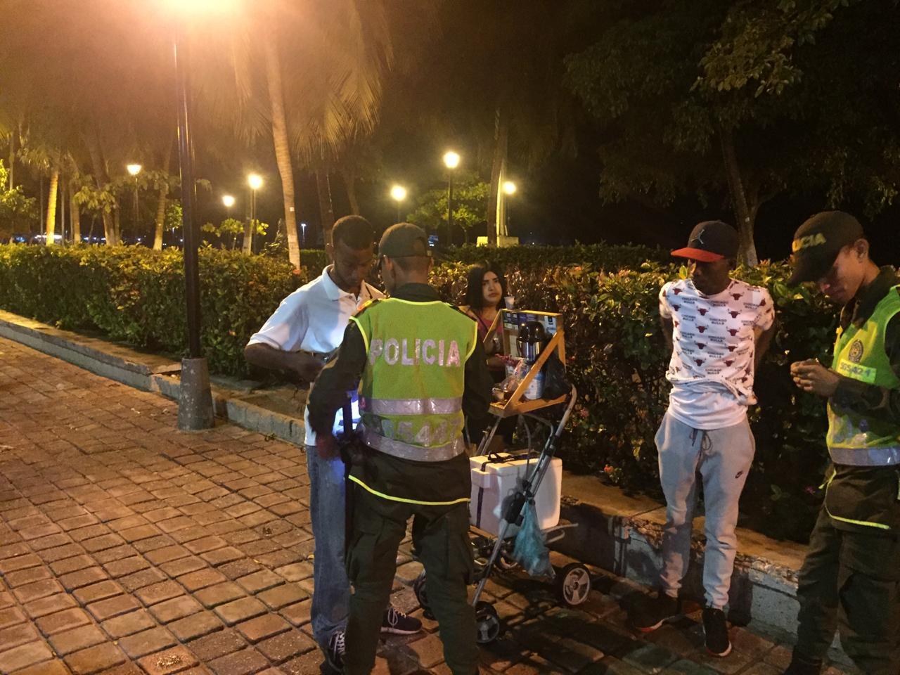 Operativo de la Policía en la noche del lunes.