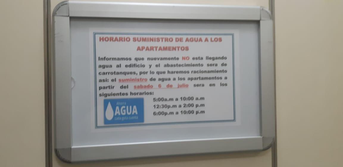 Horario de suministro de agua del edificio Bahía Linda