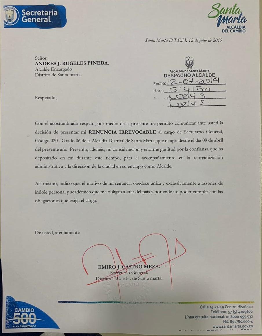 Renuncia de Emiro Castro.