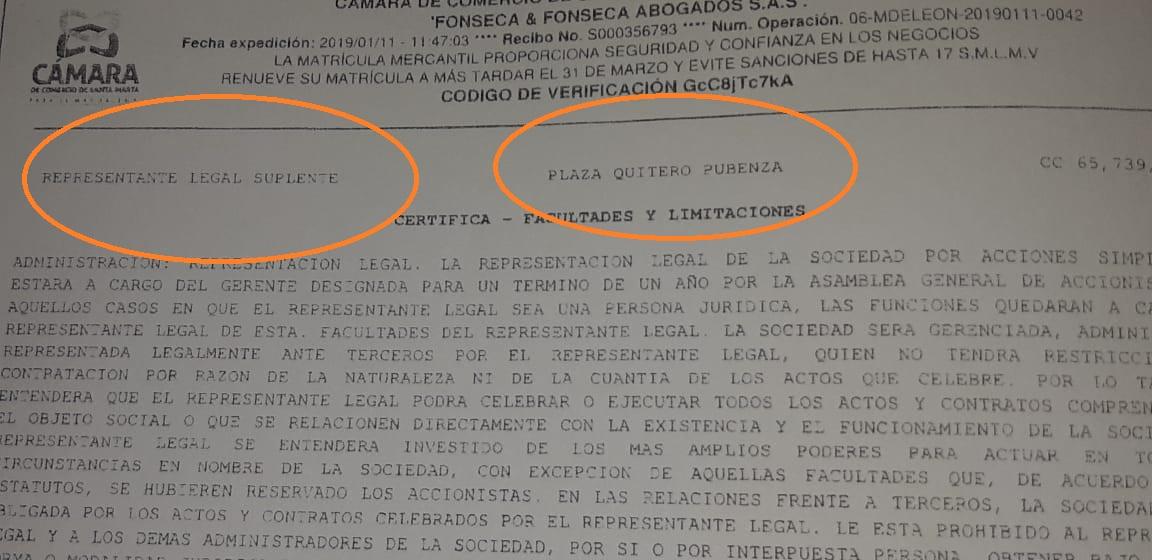 Representante legal de la firma Fonseca & Fonseca