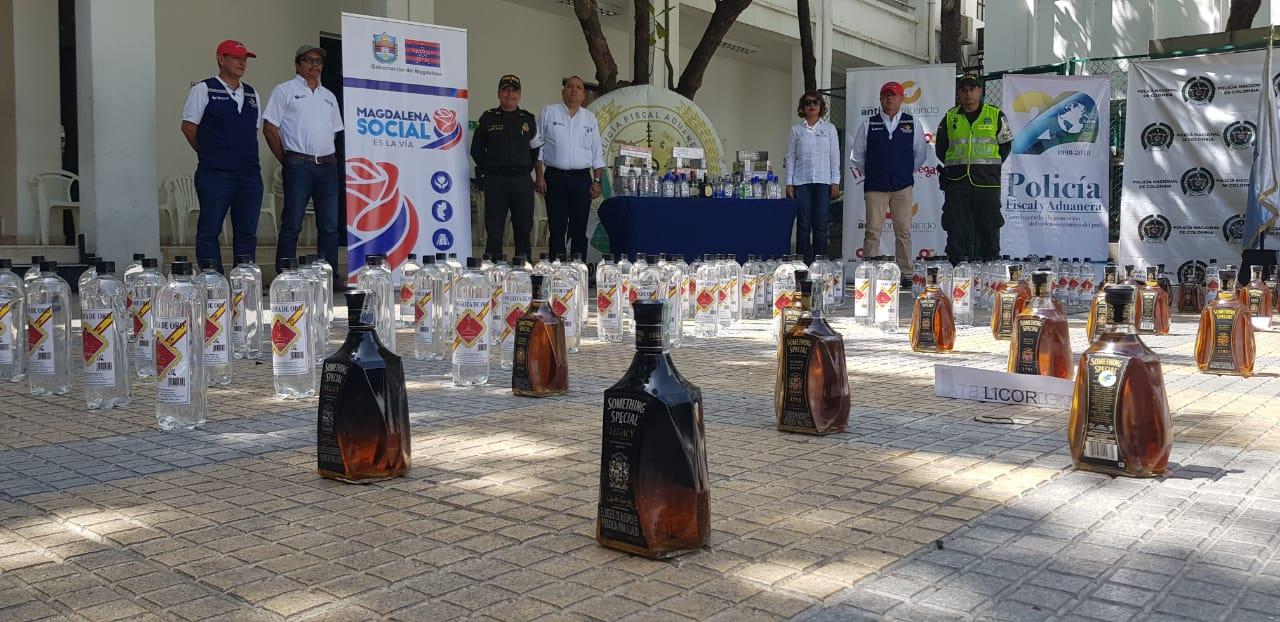 El licor incautado era de diferentes marcas y nacionalidades.