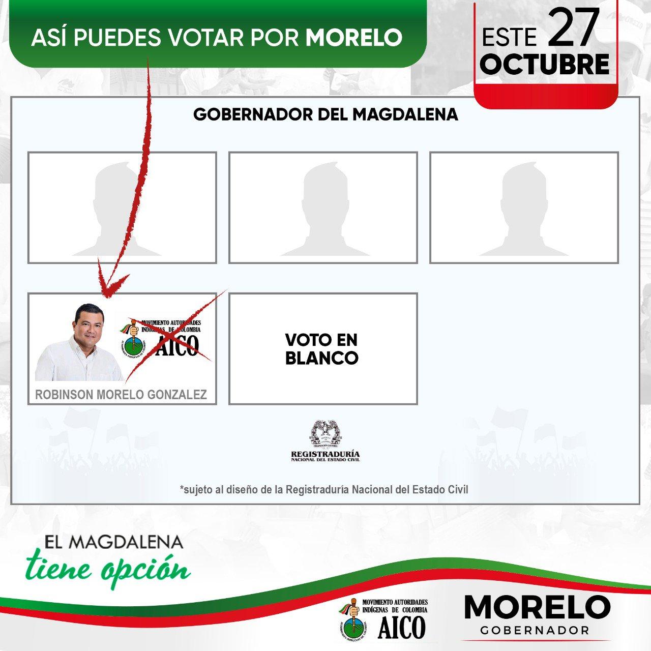 Esta es la ubicación de Róbinson Morelo en el tarjetón electoral.
