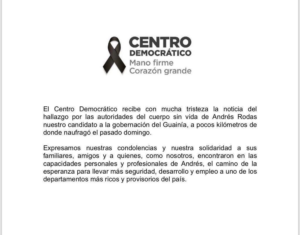Comunicado del Centro Democrático.