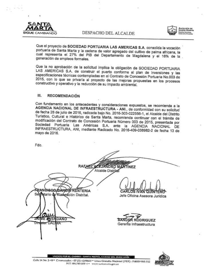 Este es el documento vigente de la aprobación del muelle de las Américas, firmado por Rafael Martínez.