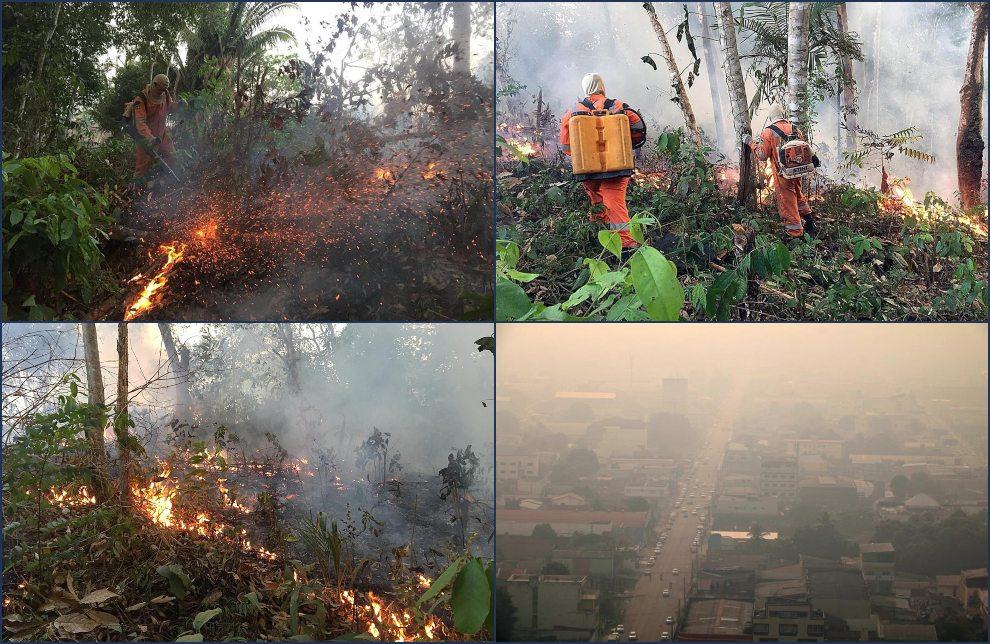 Fotografía del 18 de agosto de 2019, cedida por el cuerpo de Bomberos de la ciudad de Porto Velho, que muestra una de las conflagraciones de los grandes incendios que azotan la amazonía brasileña, en Porto Velho, capital del estado amazónico de Rondonia (Brasil).