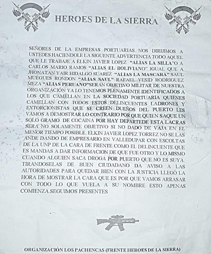 Este fue el panfleto que circuló en el que se señalaba a alias La Silla.