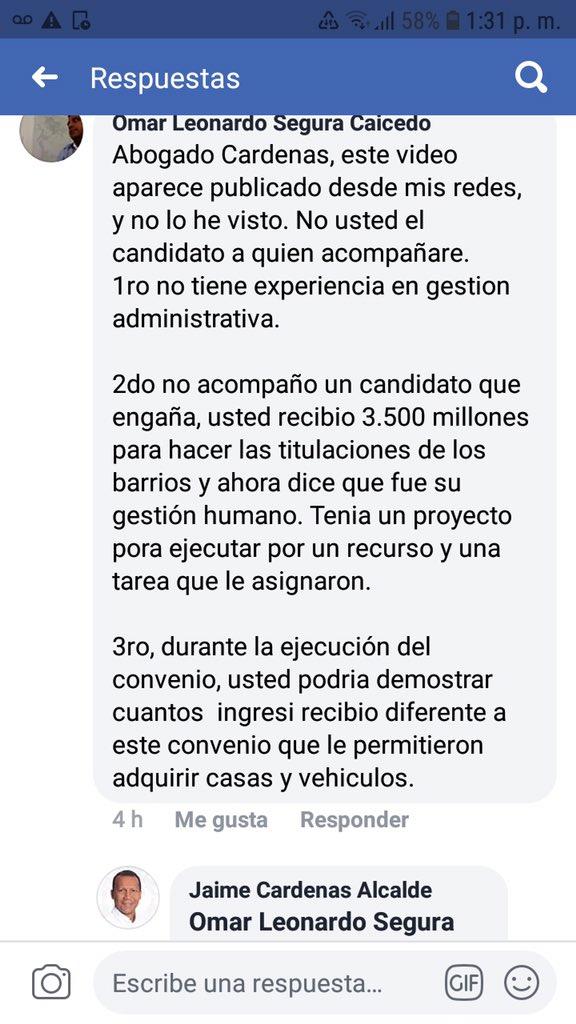 Este fue el mensaje que le molestó a Jaime Cárdenas.