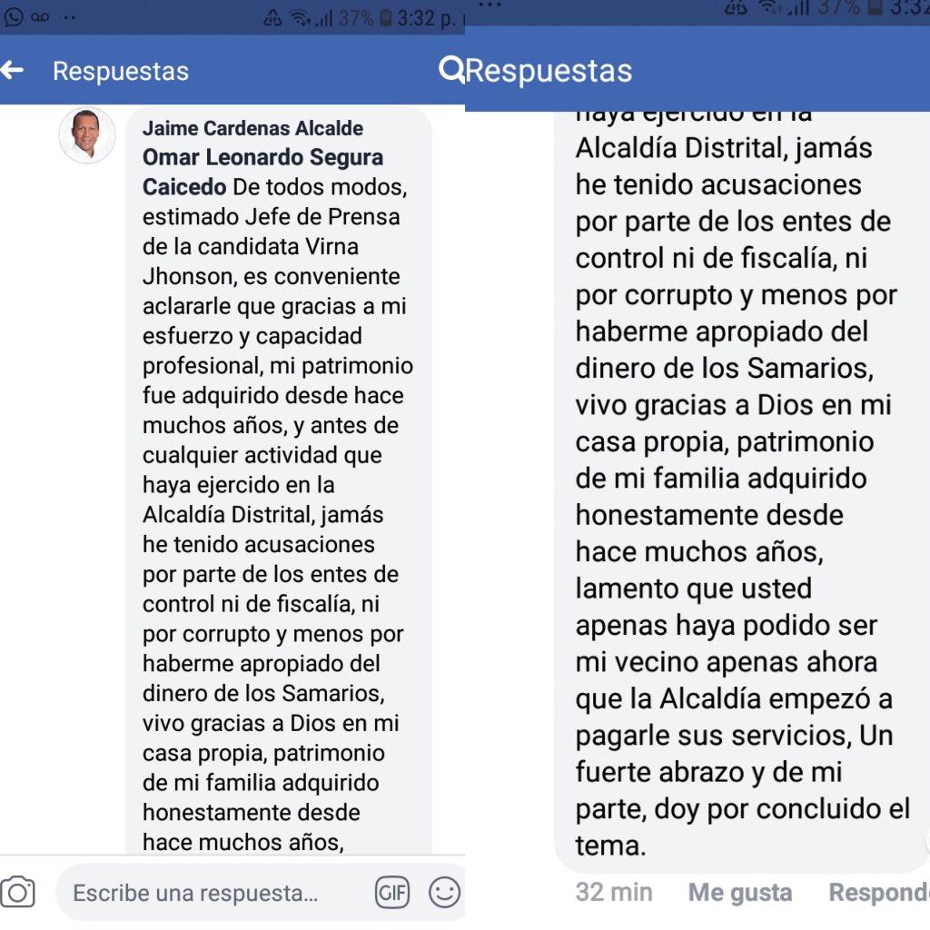 Esta fue la respuesta que Jaime Cárdenas le dio a Segura en la misma red.