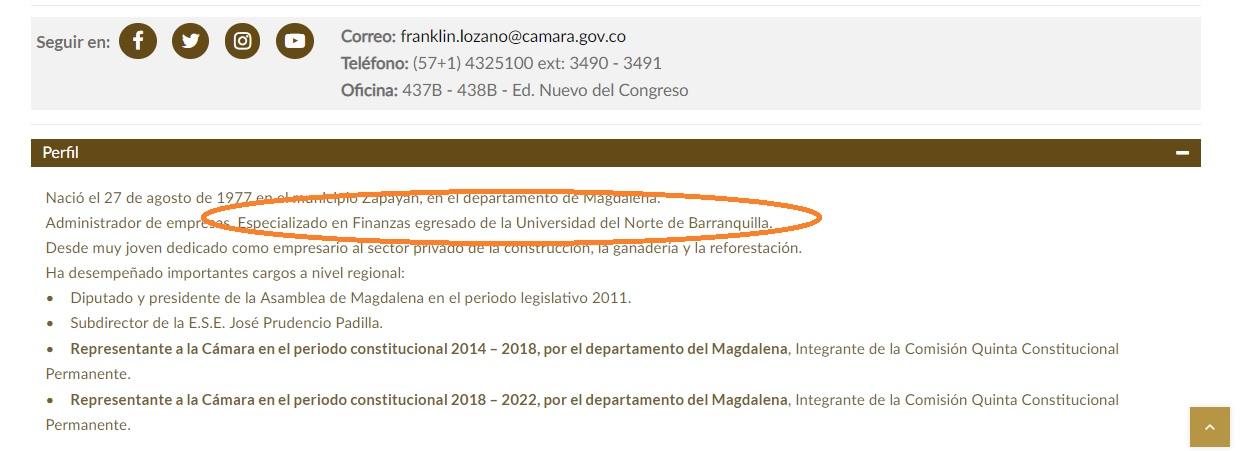 La página de la Cámara de Representantes reporta los estudios de posgrado de Franklin Lozano como si los hubiese culminado.