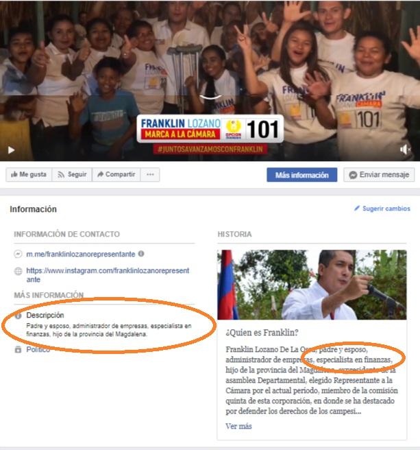 En su perfil de Facebook, el congresista da por hecho sus estudios de posgrado.