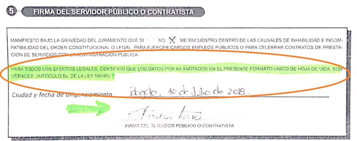 Juramento del congresista en el mismo documento.