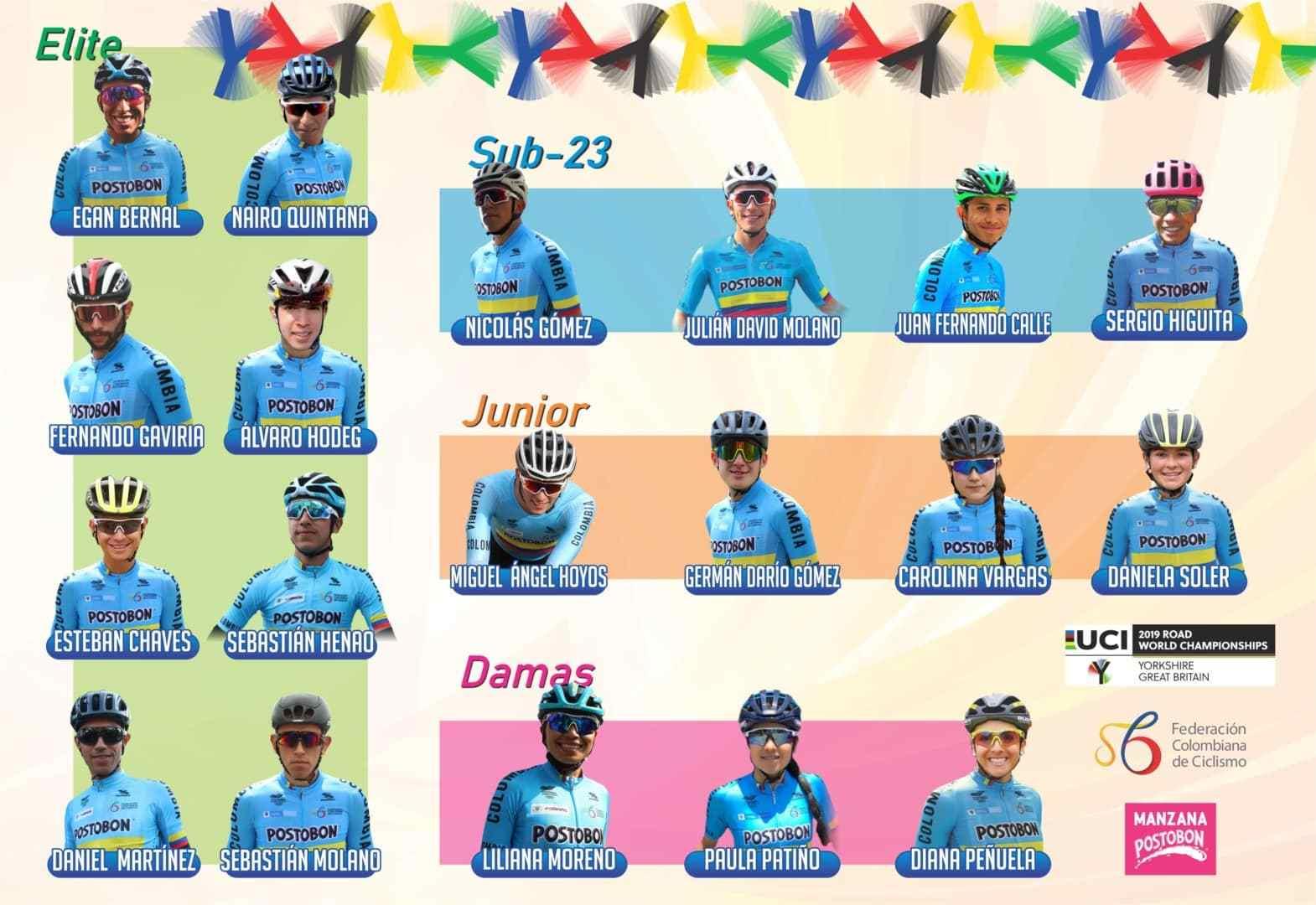 Equipo colombiano para el Mundial de ciclismo de ruta.