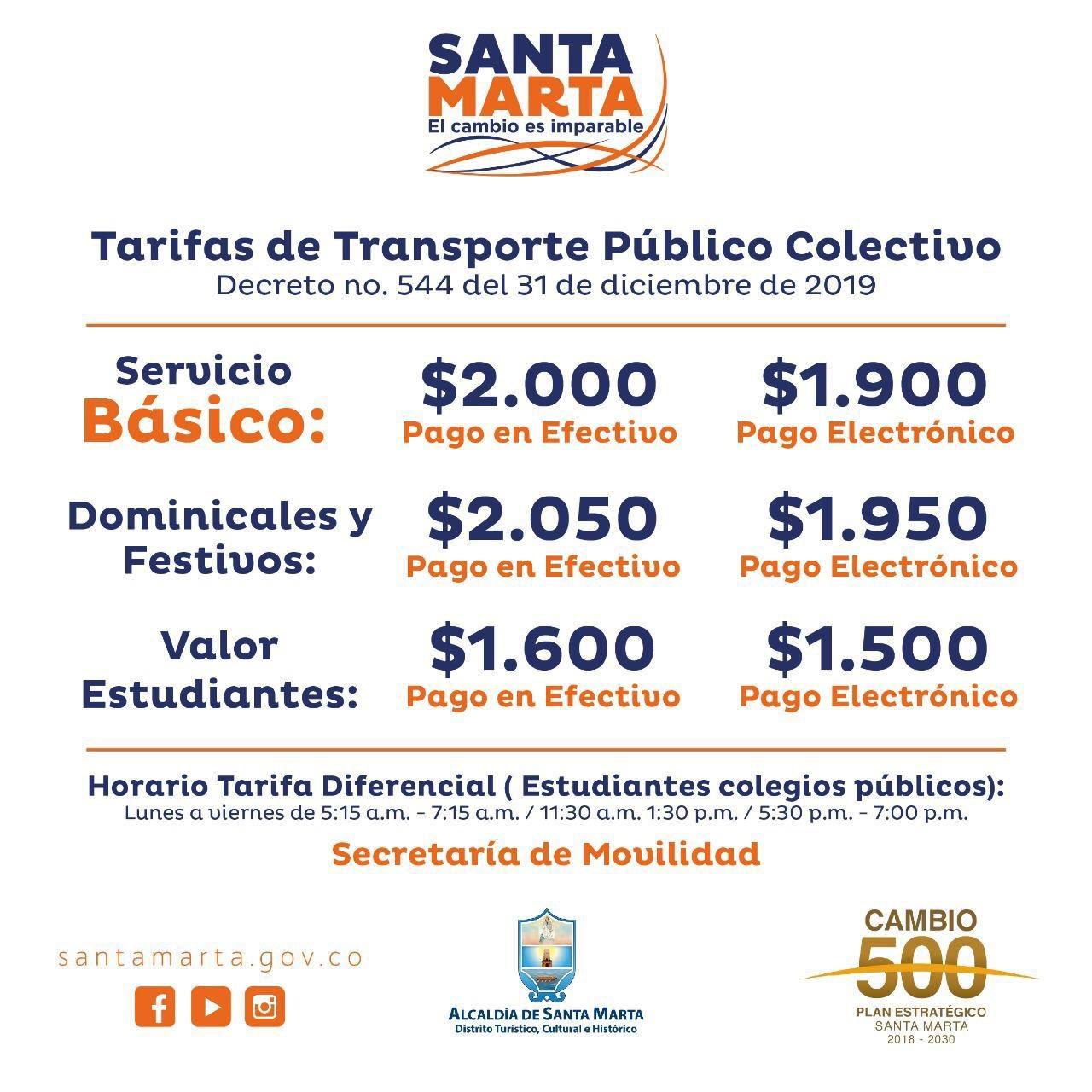 Estas son las nuevas tarifas del transporte público colectivo