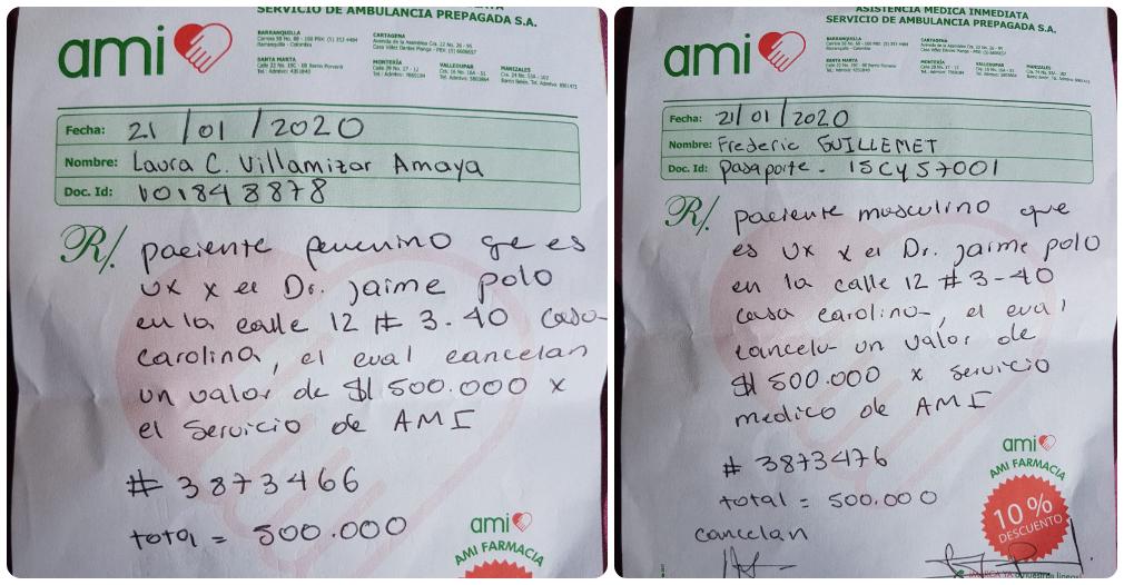 Los comprobantes de cobro por un millón de pesos por las dos consultas.