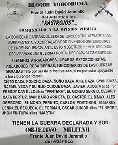Panfleto a nombre de 'los Rastrojos' conocido en el año 2012 que menciona a Acosta.