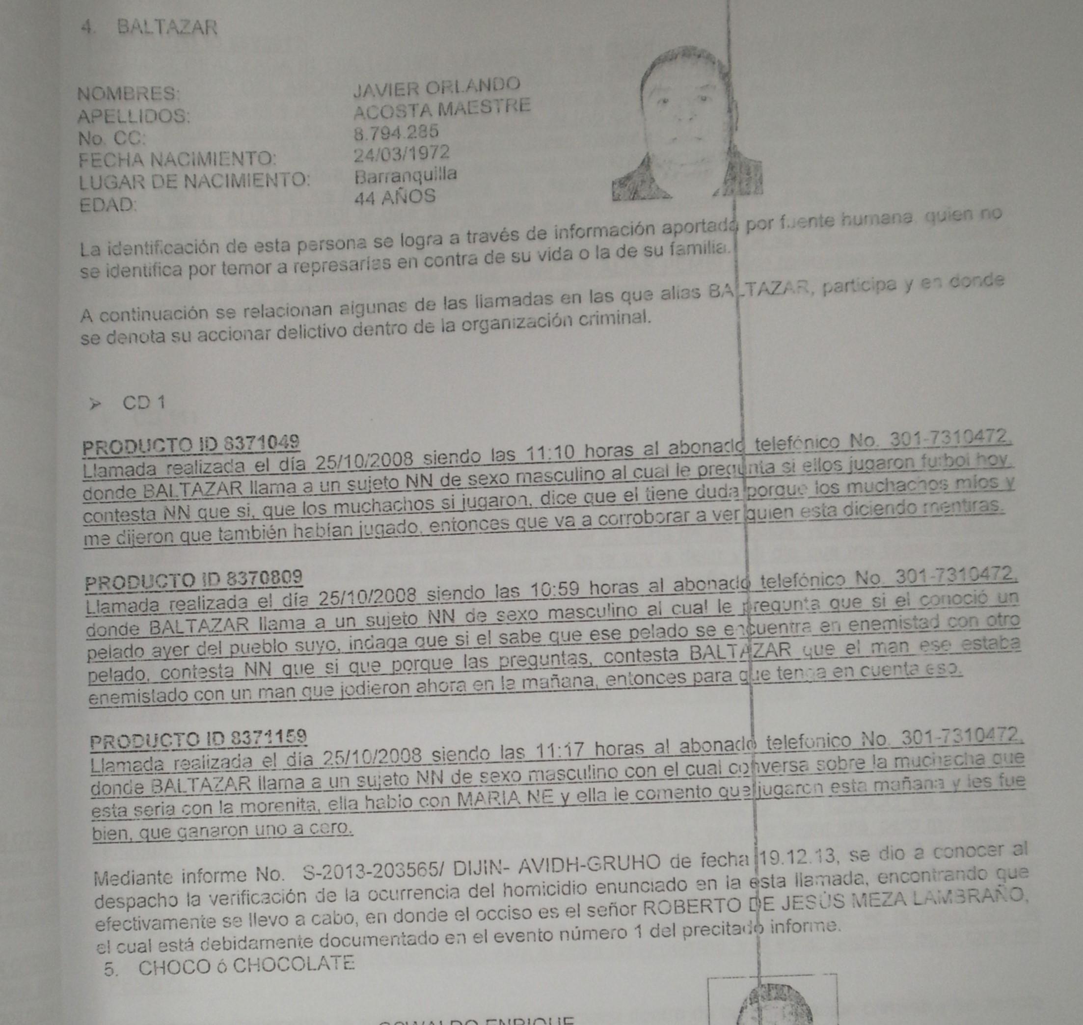 Uno de los folios del informe de la Dijín que relacionó a Acosta con 'los Paisas'.