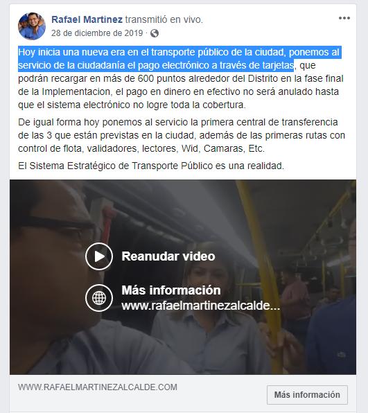 Este fue el anuncio de Rafael Martínez a través de sus redes que no se ha materializado.