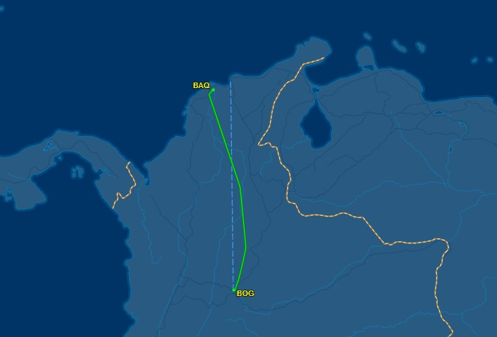 Trayecto del avión