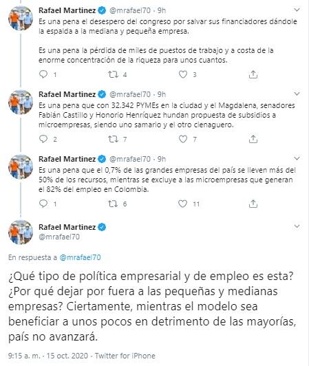Hilo de tuits de Rafael Martínez contra senadores del Magdalena.