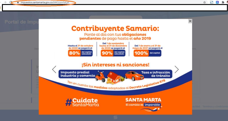 Hasta en el portal de impuestos de la Alcaldía hacen la promoción de los descuentos que ya no materializan.