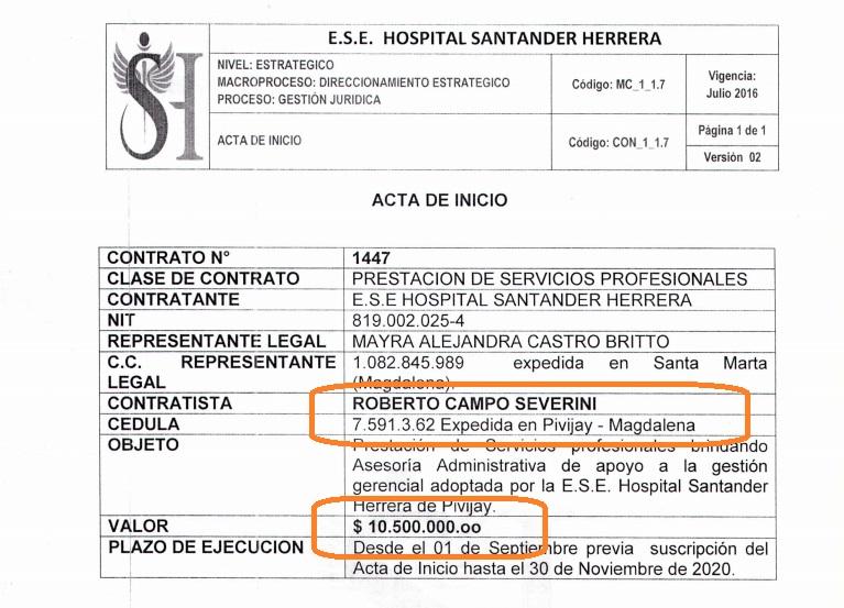 Este es el contrato que vincula a Roberto Campo Severini al hospital Santander Herrera.