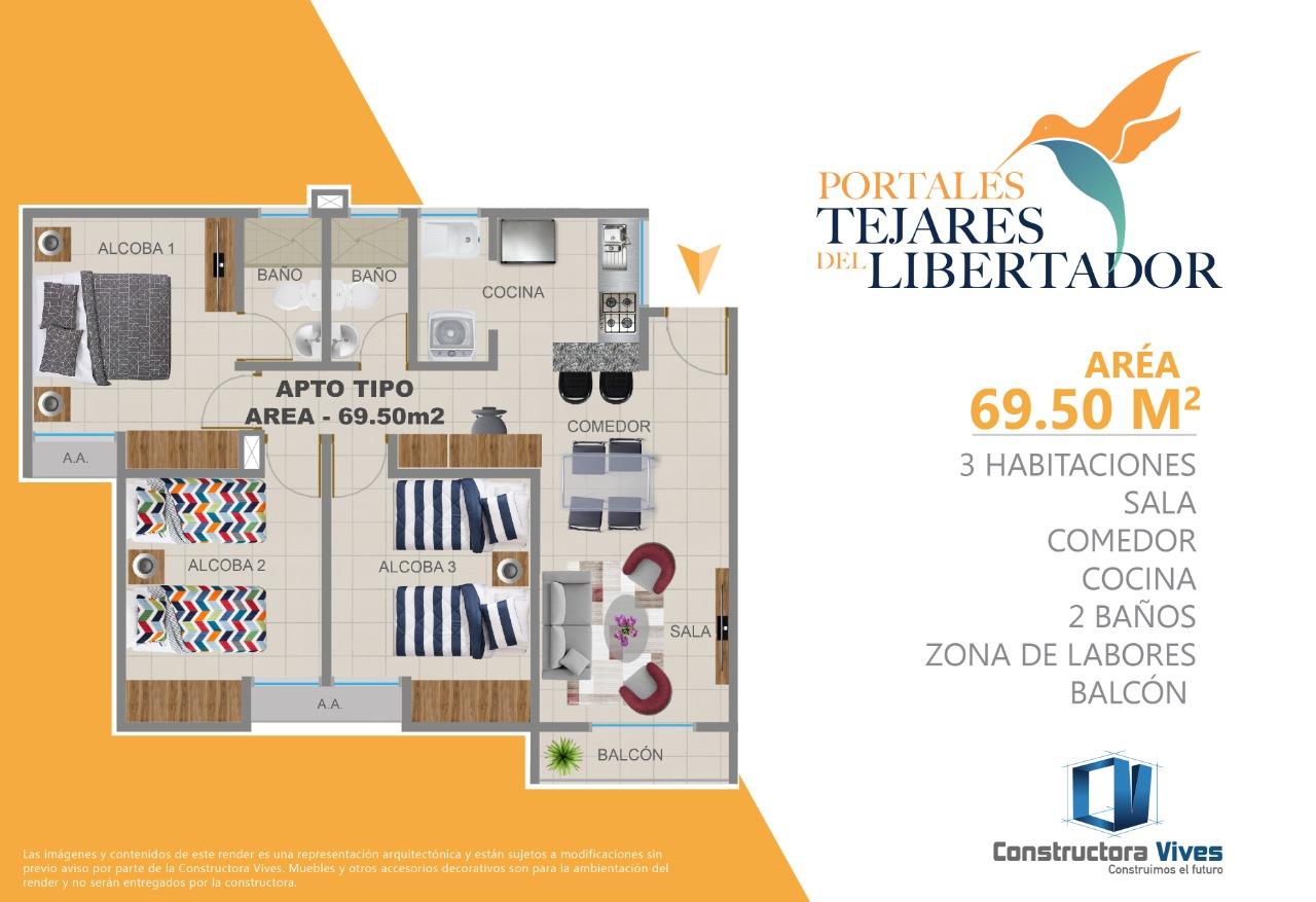 Distribución de los apartamentos en la primera etapa de Portales Tejares del Libertador.