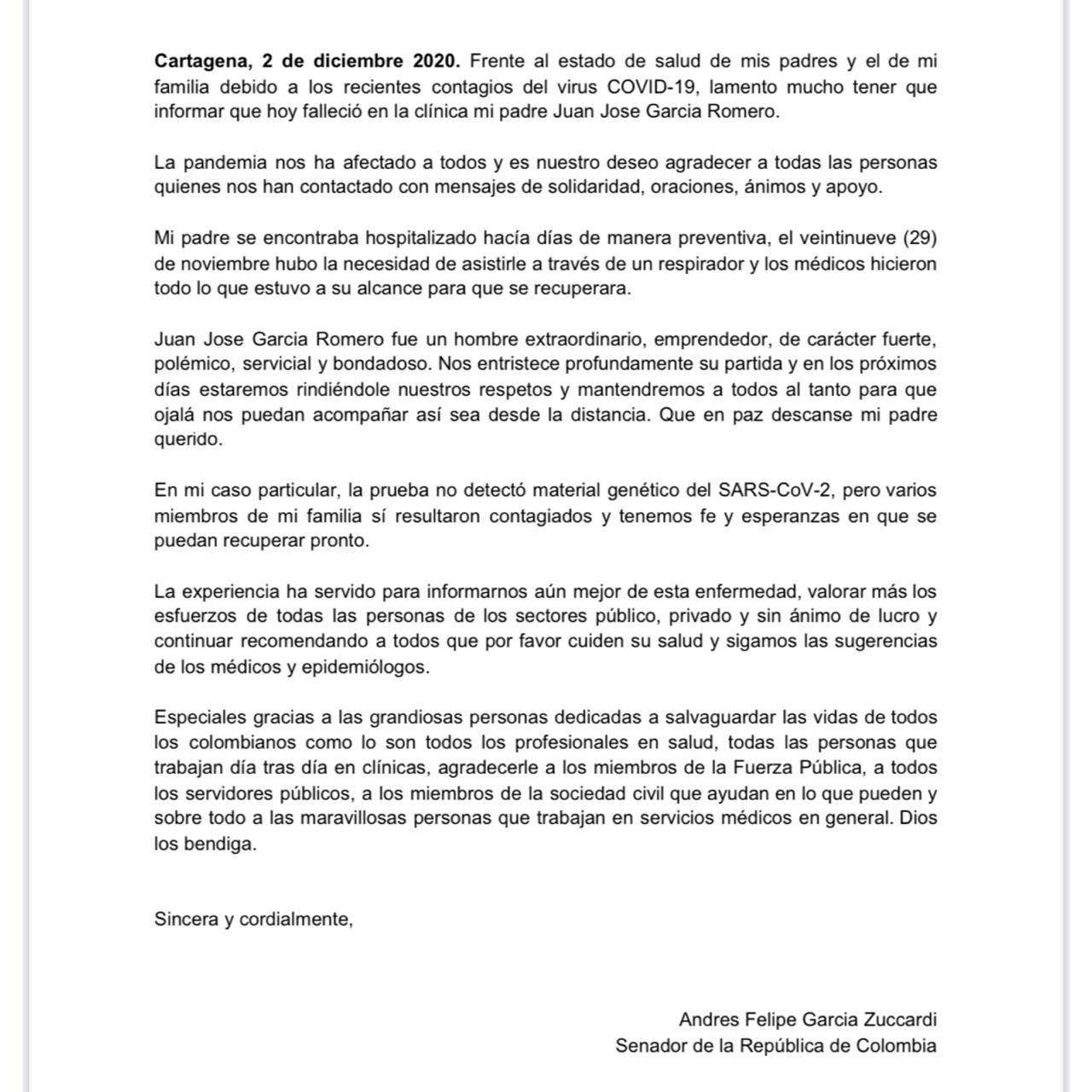 Comunicado de Andrés García Zuccardi.