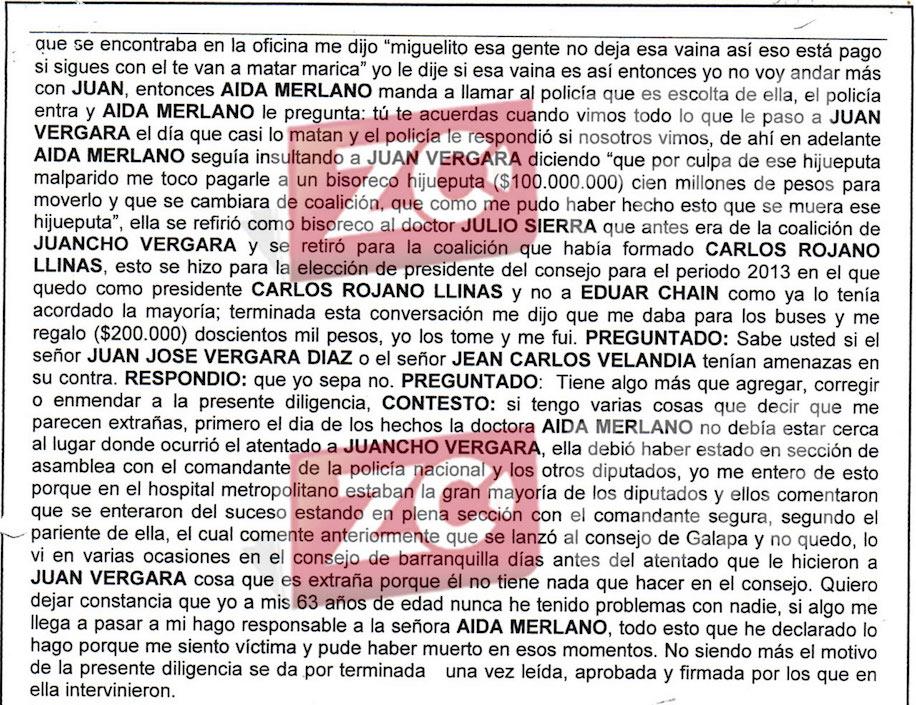 Testimonio de Miguel Guerrero sobre pago de 00 millones para mover coalición en el Concejo de Barranquilla.