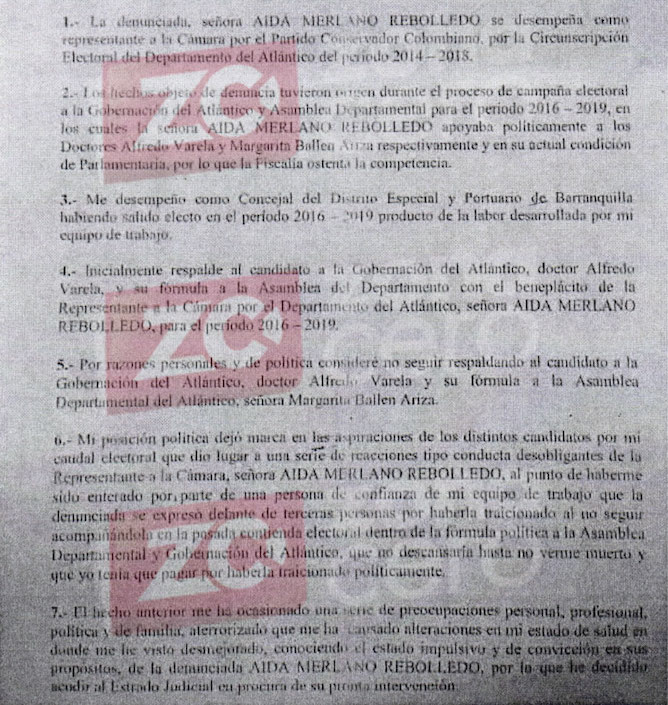 Denuncia del Concejal Juan José Vergara ante la Fiscalía General de la Nación.