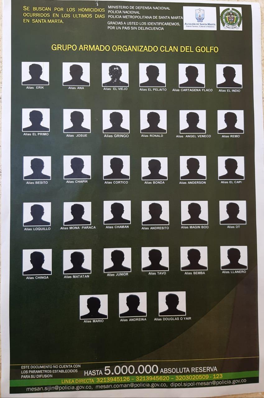 33 de los 67 alias que busca la Policía.